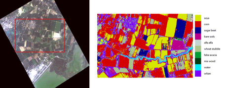 Figure 1: RGB representation of an MIVIS ((Multispectral Infrared and Visible Imaging Spectrometer)) image (left) and the corresponding cultivated areas classified by WAGRIT (right).