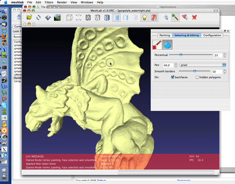 MeshLab, an open source mesh processing tool in action. User can interactively smooth the surface removing unwanted noisy features from a 3D scanned mesh.