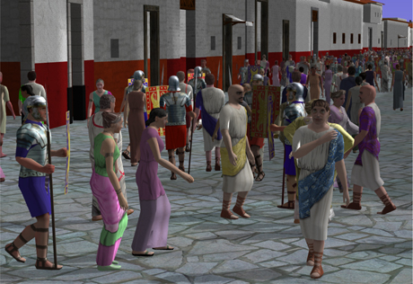 Virtual crowds populating the Pompeeii procedural modeling reconstruction.