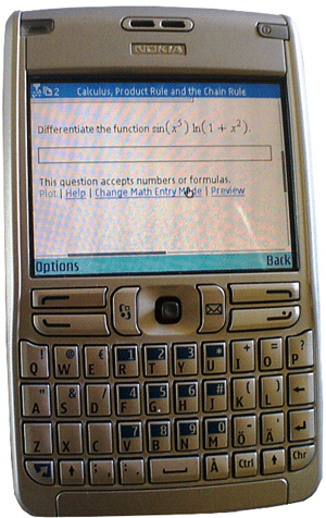 Figure 1: Online homework and assessment on a portable internet device.