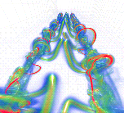 Figure 1: Visualisation of aircraft vortex wakes undergoing a long wavelength instability.