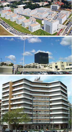 Sites of the PEG member institutions: From top: Faculty of Engineering of the University of Porto (FEUP), Engineering School of the Technical University of Lisbon (IST), and INESC.