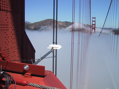 Figure 1:  Mote antenna for the accelerometer package at the top of the South tower of the Golden Gate bridge.