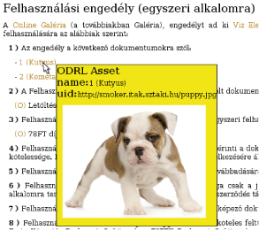 Figure 2: An ODRL-annotated usage agreement document about some pictures bought in a Web shop. When opened in a browser, moving the cursor over the annotated (light red) text causes a pop-up containing the details.