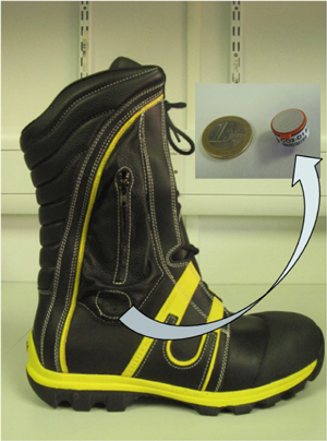 Figure 1: Firefighter's boot with built-in pocket used for enclosing the CO2 sensor and wireless communications platform.