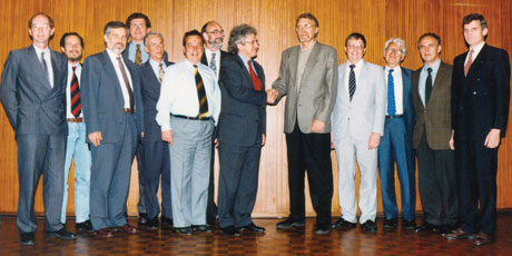 Dennis Tsichritzis, President of ERCIM (1994-1998) and the Board of Directors welcome the President of the Czech Research Consortium for Informatics and Mathematics, Jiri Wiedermann, during the ERCIM meetings in Zurich in May 1996.