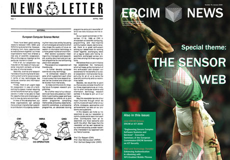 ERCIM News issues number 1 (1989) and 76 (2009).