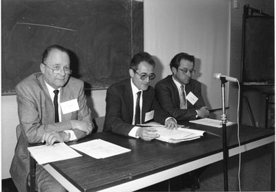 The ERCIM 'founding fathers' Gerhard Seegmüller (GMD), Alain Bensoussan (INRIA) and Cor Baayen (CWI) in 1989.
