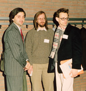 The first 'ERCIM fellows' Michal Haindl (left) and Eric Rutten (right) during an ERCIM workshop at CWI in Amsterdam in November 1990 (in the center Chris Greenough of RAL, now STFC). More than 200 fellows have been hosted in ERCIM institutes through the Fellowship Programme since its inception in 1990.