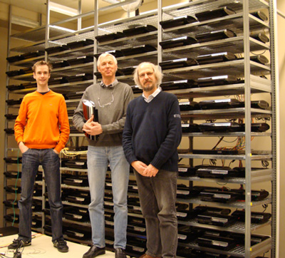 Three members of the team that created the rogue CA, in front of the PS cluster: Marc Stevens, Arjen Lenstra, and Benne de Weger. Picture by Joppe Bos.