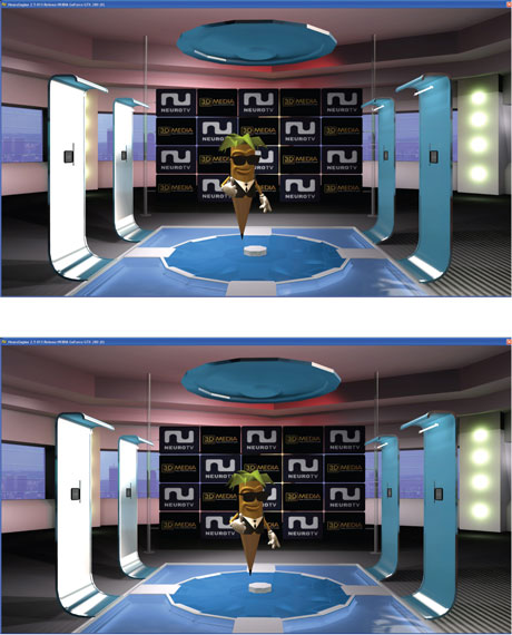 Figure 1: During the preview of the 3D Stereo MEDIA event on  17 March 2009 in Liège, Belgium, NeuroTV showed, as a world first, the live animated character Toon in full 3D stereoscopy. Above are examples of the slightly different left-eye (left) and right-eye (right) views of a 3D projection (courtesy of NeuroTV, member of the 3D MEDIA project).