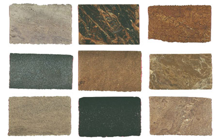 Figure 1: Photographs of stone slabs classified into different types of stone, used to experiment automated classification.