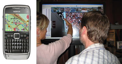 Figure 2: interaction with the 3D environment with handheld devices (left) and stationary monitors (right).