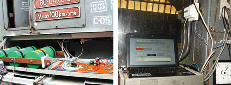 An electric starting system installed on locomotive. The system include two components: the locomotive driver console (left) and the embedded systems dedicated for the main subsystems. The picture on the right shows the box of supercapacitors and the afferent control systems linked to console by an Ethernet bus.