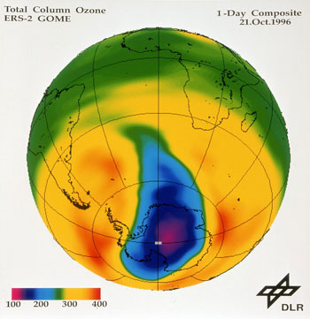 Figure 1: opening of the ozone hole during austral spring. This image was produced from GOME derived data. Image: ESA
