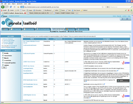 Figure 1: The testbed interface, listing services.