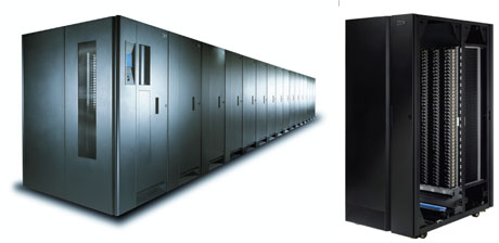 Figure 1: IBM System Storage TS3500 Tape Library, a highly scalable, automated tape library for mainframe and open systems backup and archiving in midrange to enterprise environments with a  capacity of up to 45 PB (with 3:1 compression).