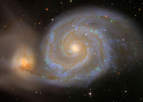 Figure 1: The famous Whirlpool Galaxy is one of the many objects in the SDSS database. SDSS acts as a well-documented benchmark for scientific database management. (Picture: The Sloan Digital Sky Survey.)