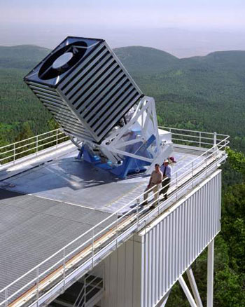 Figure 2: The Sloan Telescope, a 2.5-meter telescope at Apache Point Observatory, did all SDSS imaging and spectroscopy. (Picture: The Sloan Digital Sky Survey.)