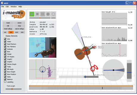 Figure 2: A screen snapshot of the i-Maestro 3D Augmented Mirror (capturing and analysing audio, video, 3D motion data, pressure and balance).