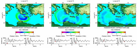 Figure 1: Snapshots of the propagation of the tsunami generated by the 365 AD earthquake.