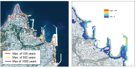 Figure 2: Probabilistic maps for  the city of Rhodes: inundation lines for 100, 500 and 1000 years superimposed on an IKONOS satellite image (left); frequency of inundation among 100 runs for 1000 years depicted in colours over the satellite image (right).