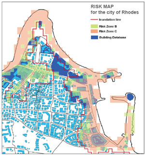 Figure 3: Tsunami risk map for the city of Rhodes (northern part of the port), with the different risk zones according to the flow depth and the inundation line.