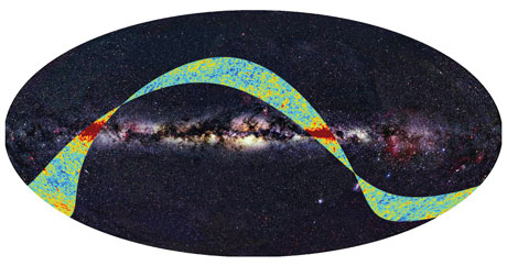Figure 1: The first microwave sky data released by the Planck mission, superimposed to an all-sky map at optical wavelengths. The bright equatorial area represents the intense radiation from our Milky Way galaxy. The microwave data are mapped through a colour scale that indicates the deviations of the radiation temperature from the average background value of 2.726 K (red is hotter and blue is colder). Date: 17 Sep 2009 Satellite: Planck. Copyright: ESA, LFI & HFI Consortia (Planck), Background image: Axel Mellinger.
