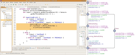 Figure 1: (left) A small snippet of a Java code verified using SARTS; (right) a simplified UPPAAL model of the highlighted code.