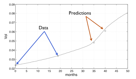 Figure 2:  results of a prediction of the evolution of the nudule based on the mathematical model.