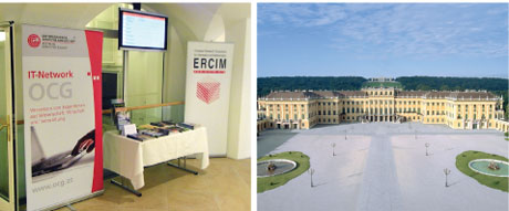 Joint ERCIM-OCG booth at SAFECOMP (left) and the conference venue Schönbrunn Palace in Vienna.