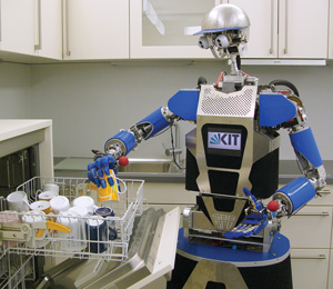 ARMAR-III, a humanoid robot of the Karlsruhe Institute of Technology developed by the Collaborative Research Center on humanoid robots (SFB 588), funded by the German Research Foundation (DFG), as assistance robot in human-centered environments