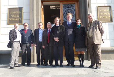 Participants of the GEO-RECAP kick-off meeting. From left: Giorgi Mumladze (IC), George Giorgobiani (MICM), George Goguadze (DFKI), Vakhtang Kvaratskhelia (MICM), Jérôme Chailloux (ERCIM), Andrey Girenko (GIRAF), Andrea Loesch (GIRAF) and Givi Kochoraze (ICARTI).