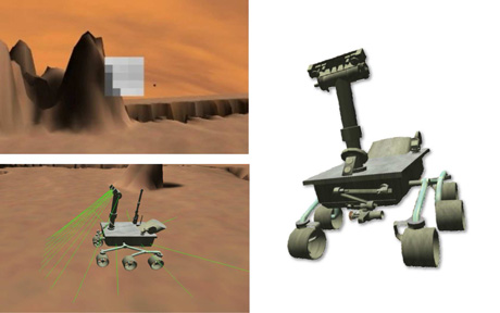 3D physics model of the rover (right), the position and orientation of the camera and infrared sensors (bottom-left) and fovea of the active vision system consisting of a matrix of 5x5 grayscale pixels.