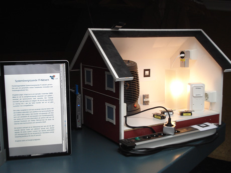 The smart house demo setup with a mini-PC for controlling lighting and heating.