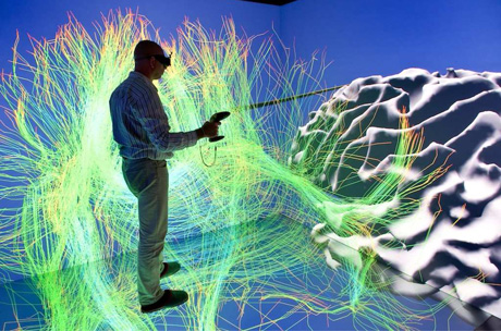 Figure 1:  Immersive interaction with brain fibers and cortex reconstruted from MR Images.
