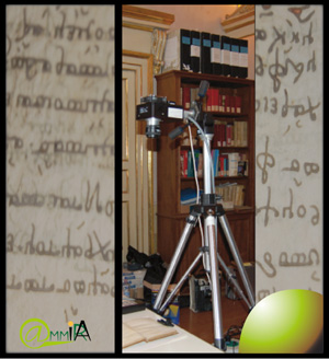 Figure 1: Capturing pages from an ancient book: the AMMIRA DTA Chroma multispectral camera.