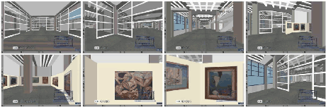 Figure 2: Selected navigation frames (2,5,11,25 top, 27,32,38,42 bottom) around a virtual exhibition.