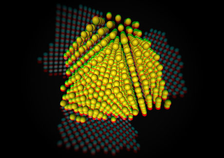 Figure 1: Visualization of the three-dimensional structure of a silver nanoparticle at an atomic level. Sophisticated measurement and reconstruction techniques are applied to images obtained with one of the most powerful electron microscopes in the world.