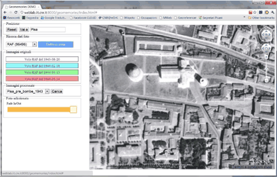 Figure: 2 A screenshot of the first prototype for browsing the historical maps.