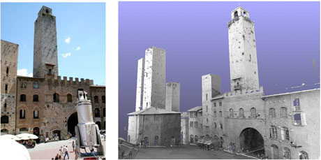 Figure 1: Acquisition of the tower's geometry by means of a TOF laser scanner (on the left),  3D digital model of the Rognosa tower and the Cathedral Square (on the right).