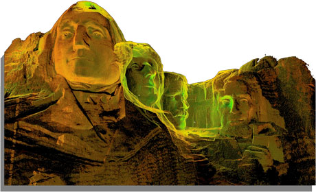 Figure 3: 3D point cloud rendering of the four sculpted presidents from the Mount Rushmore Scottish Ten project.