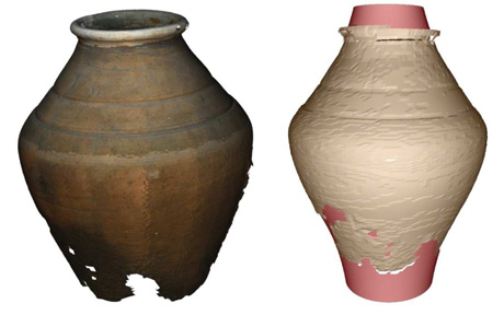 Figure 1: Comparison between a reconstructed vase and the results of a generative enrichment with real-world geometry. The light red parts do not have a counterpart in the input data set, whereas the light brown parts correspond to the input data set.