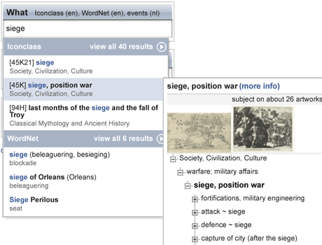 Figure: Art annotation application developed by CWI in cooperation with the Rijksmuseum.  While the user is typing, the interface suggests terms from different public web data sources, in this case RKD's IconClass and Princeton's WordNet.