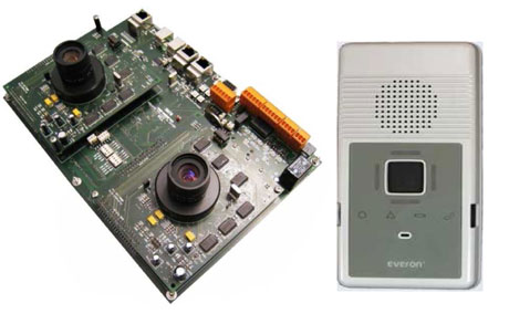 Figure 1: CARE key technologies: Stereo vision system for fall detection (left), Everon wireless module (right).
