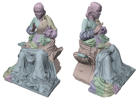 Figure 1: Images of the digitally recomposed statue (the different fragments are rendered with different surface color). This was the starting point for the actual physical restoration of the fragments.