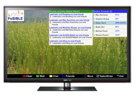 Figure 1: A prototype of the Smart TV widget for the FoSIBLE Social TV Community.