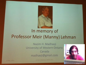 Nazim Madhavji from University of Western Ontario gives a tribute speech in memory of Manny Lehman.