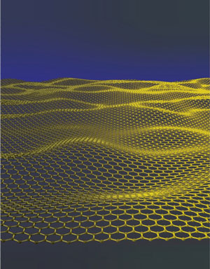 Artistic impression of a corrugated graphene sheet. Illustration by Jannik Meyer.