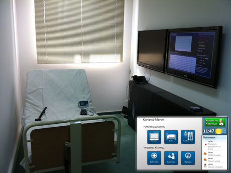 Figure 3. Smart Patient Room and touch pad application.